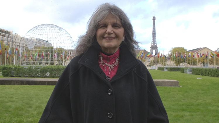 Phyllis Magrab, the Washington-based US National Commissioner for UNESCO, poses outside the UNESCO headquarters in Paris, France, Thursday, Nov. 7, 2013