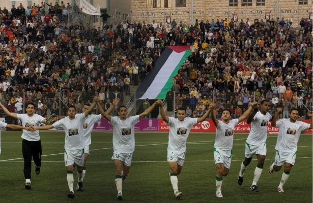 The Palestinian national soccer team, a source of pride for many, has been under attack by the Israeli state. (AP Photo/Tara Todras-Whitehill)