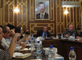 9 May, 2013 - Damascus - the delegation meets with the Minister of Justice and presents a petition for the release of 72 non-violent activists