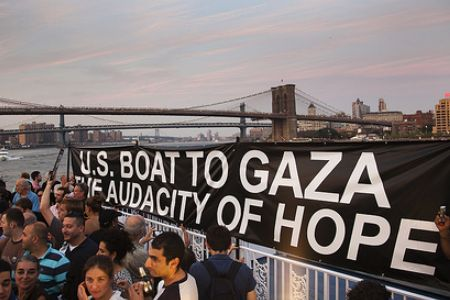 The Audacity of Hope is a part of the Freedom Flotilla II, seeking to break the Israeli naval siege.
