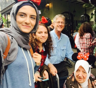 Three Palestinian women in mouse ears. The third is a friend from southern California.)
